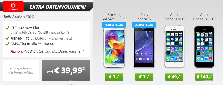 samsung galaxy s5 mit vodafone red s tarif f r 39 99 euro von sparhandy. Black Bedroom Furniture Sets. Home Design Ideas