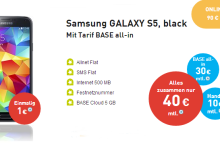 BASE All-In mit Samsung Galaxy S5 für 1 Euro