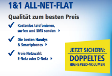 1&1 vedoppelt Highspeed-Volumen für All-Net-Flatrates