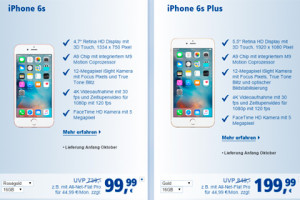 iPhone 6s (Plus) nun auch bei 1&1 bestellbar