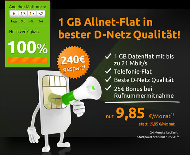 Crash-Tarife 1 GB Allnet-Flat - 9,85 Euro