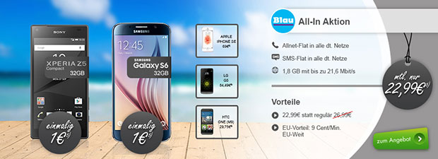 modeo - Blau All-in Aktion mit Smartphone