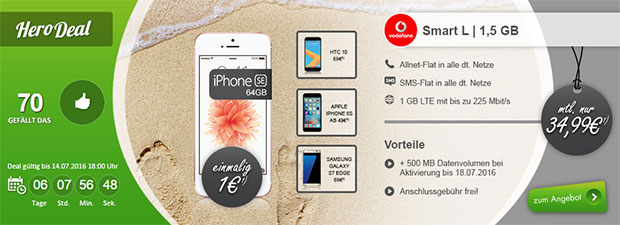 modeo Vodafone Smart L 1,5 GB + Apple iPhone SE 64 GB Rosegold