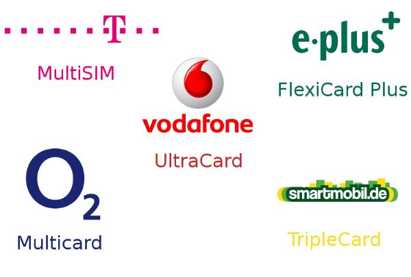 MultiCard Angebote bei Mobilfunkbetreibern