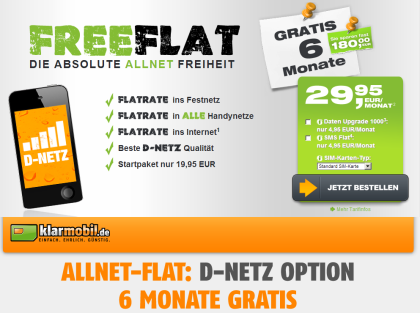 freenetmobile.de und klarmobil.de Aktion für Allnet Flat in D-Nez