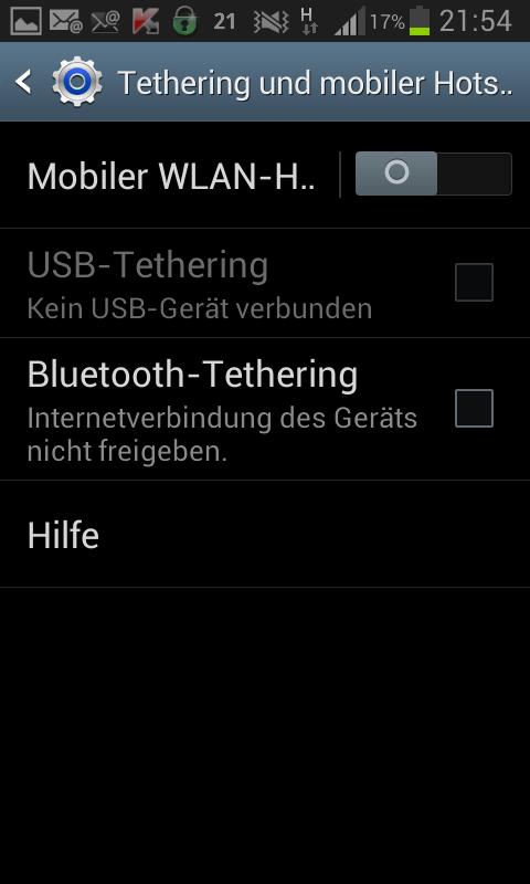 Menu Drathlos und Netzwerke detaillierte Information auf dem Android Handy