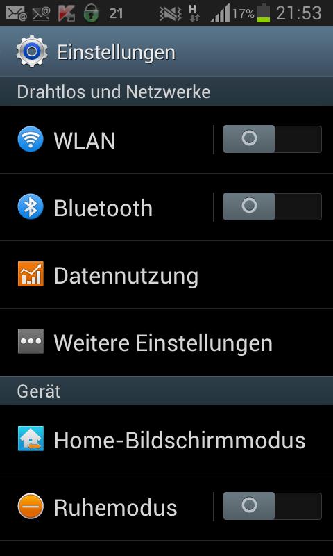 Einstellungen Menu auf dem Android Handy