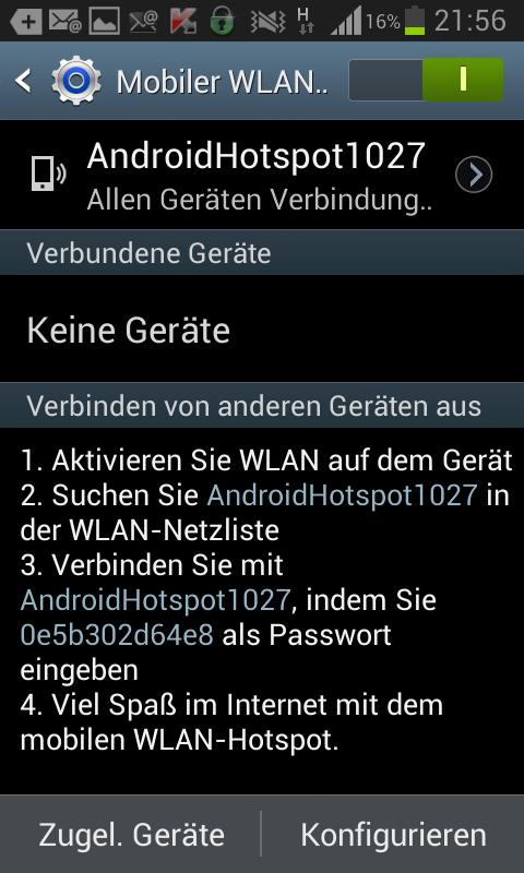 Menu Tethering und mobiler Hotspot auf dem Android Handy