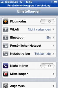 iPhone Einstellungen Hotspot
