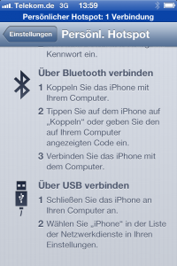 Hotspot Bluetooth per Usb auf dem iPhone