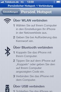 Hotspot über WLAN bzw. Bluetooth auf dem iPhone