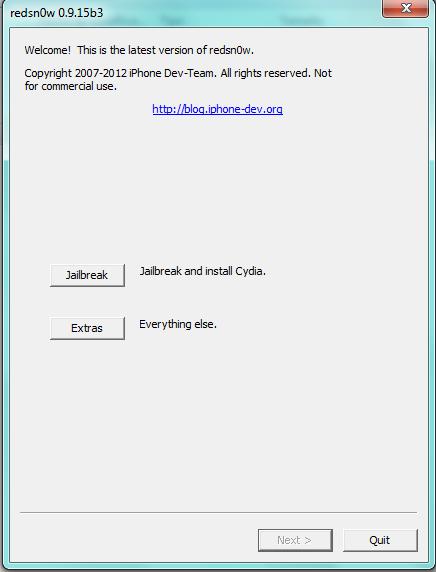 Das Software redsn0w für Jailbreak eines Iphone