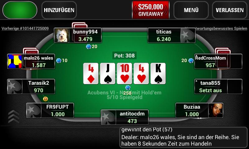 Pokerspiel auf Bildschirm
