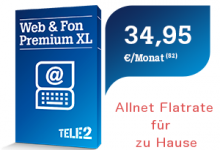 Tele2 mit Allnet-Flat Tarif für Festnetz