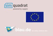 Simquadrat und blau.de ohne Romaing in EU