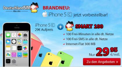 deuschlandSIM SMART 100 mit iPhone 5c nur 29,95 Euro pro Monat