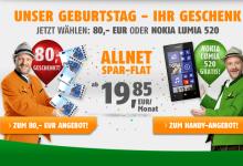 klarmobil.de feiert Geburtstag und schänk 80 Euro oder Nokia Lumnia
