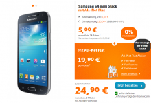 Samsung Galaxy S4 Mini mit Allnet Flat bei Simyo nur 24,95 Euro