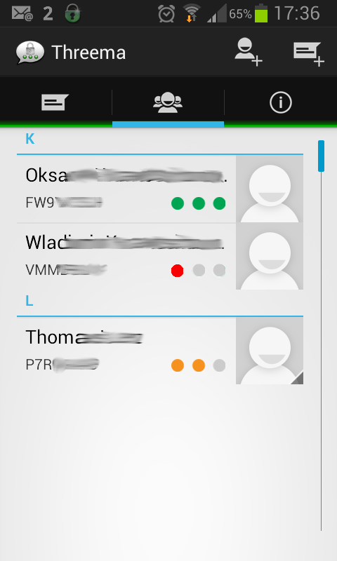 Kontaktliste in Threema