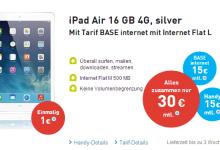 iPad air bei Base im Top Angebot für 30 Euro monatlich!