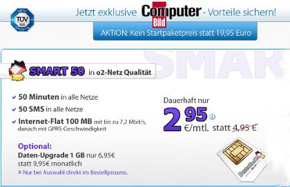 DeutschlandSIM und ComputerBILD SMAT 50 in der Aktion