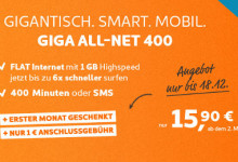 Simyo GIGA All Net 400 Smartphone Tarif