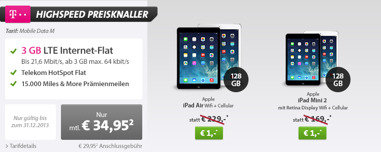 Sparhandy: Mobile Data M mit iPad für 1 Euro