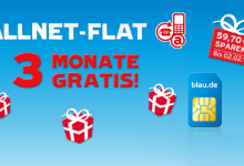 blau.de: Allnet Flatrate 3 Monate Gratis
