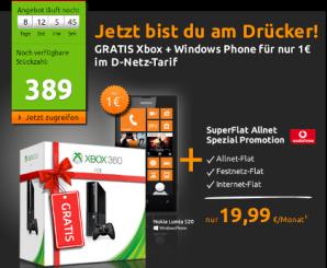 crash-deal: Allnet-Flat im D-Netz mit Nokia Lumia 520 und XBOX 360 effektiv 7,9 Euro im Monat