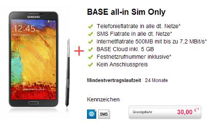 galaxy note 3 mit BASE All-Net-Flat bei handyliga für 30 Euro zu erwerben