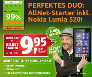 crash-tarife: Smartphone Tarif mit Nokia Lumia 520 für 9,95 Euro pro Monat