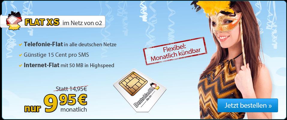DeutschlandSIM Tarif Flat XS unter 10 euro