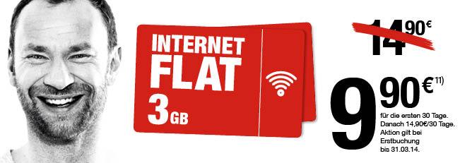 Internet Flat mit 3 GB Highspeedvolumen für 9,90 in die ersten 30 Tagen