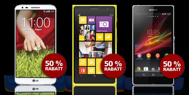 LG G2, Nokia Lumia 1020 und Sony Xperia z für 50% günstiger bei o2