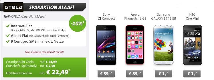 Sparhandy Angebot: Otelo Allnet Flat M 10 Prozent günstiger