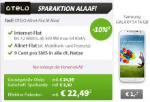 Otelo Allnet Flat M bei Sparhandy mit Galaxy S4 10 Prozent günstiger