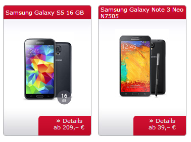Samsung Galaxy S5 für 229 Euro bei sparhandy