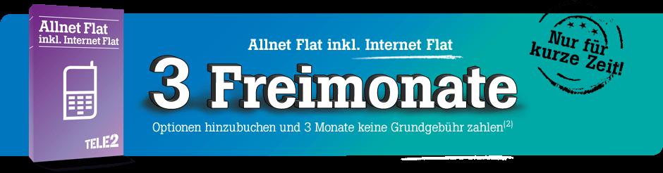 Allnet Flatrate bei Tele2 3 Monate gratis