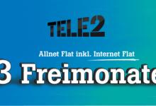 Tele2 Allnet Flat mit Internet Flat 3 Monate Gratis