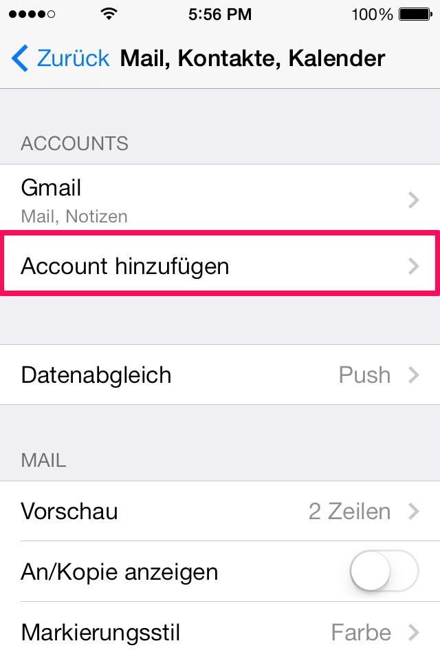Account hinzufügen