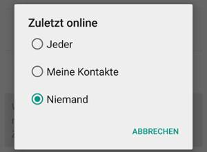 Einstellung für Online Status im Whatsapp auf Android