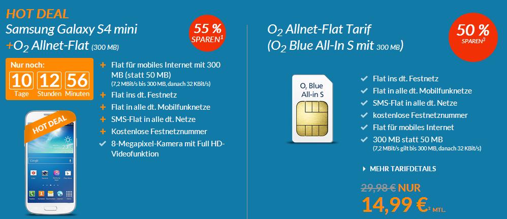 Blue Deals mit Allnet-Flat und Smartphone Galaxy S4 mini für 19,99 im Monat