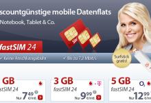 fastSIM Daten-Flatrate stark reduziert