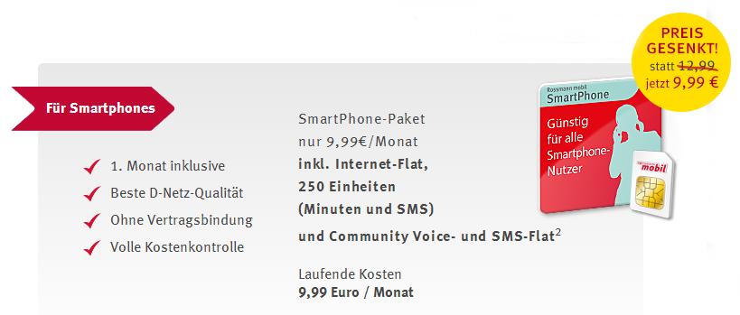 Rossmann mobil Smartphone Option 2 Euro billiger