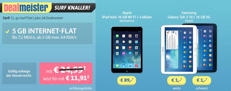 Internet-Flatrate 5 GB mit Tablet für 11,91 Euro