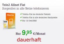 Tele2 Allnet Flat für 9,95 Euro im Monat