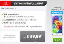 sparhandy: Samsung Galaxy S5 mit Vodafone Red S für 39,99 Euro pro Monat
