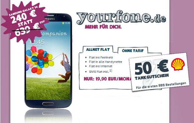 Yourfone Allnet-Flat mit Galaxy S4 und Tankgutscheind mit 50 Euro