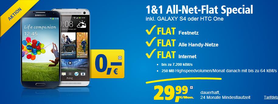 HTC One oder Samsung Galaxy S 4 für 0 Euro mit dem neuen Tarif All-Net-Special von 1 und 1 betellbar