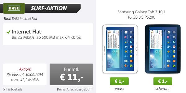 Daten-Flatrate von Base mit Samsung Galaxy Tab für 11 Euro